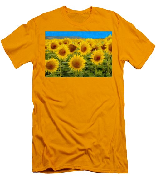 Sunflowers In The Field Men's T-Shirt (Athletic Fit)