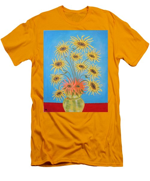 Sunflowers On Blue Men's T-Shirt (Athletic Fit)