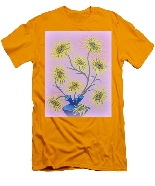 Sunflowers On Pink Men's T-Shirt (Slim Fit) by Marie Schwarzer