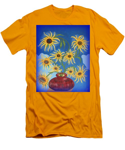 Sunflowers On Navy Blue Men's T-Shirt (Athletic Fit)