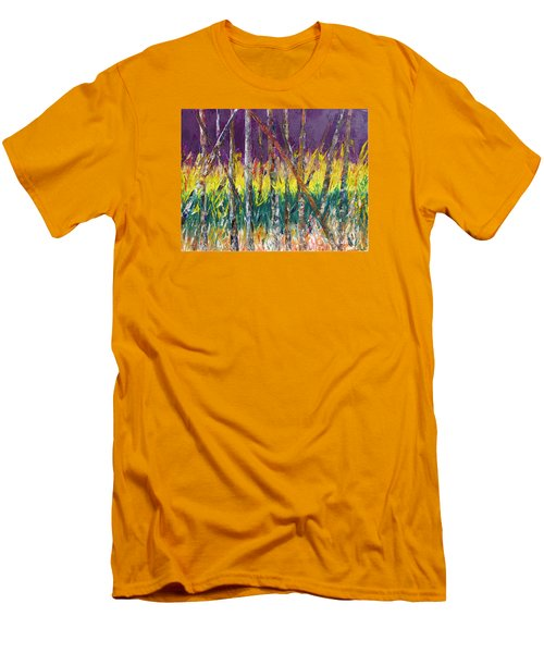 Sunset Abstract Pallet Knife Men's T-Shirt (Slim Fit) by Lisa Boyd