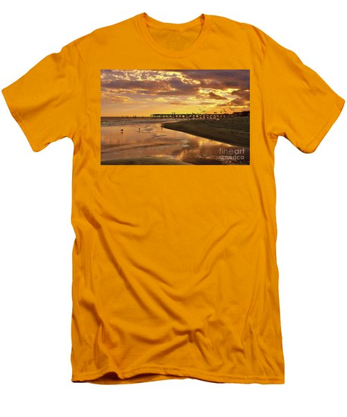 Sunset And Gulls Men's T-Shirt (Slim Fit) by Kathy Baccari