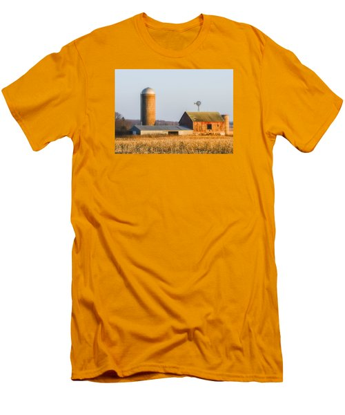 Men's T-Shirt (Slim Fit) featuring the photograph Sunset Barn by Dan Traun