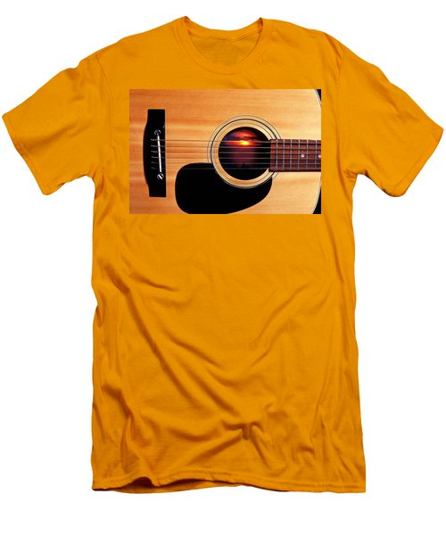 Sunset In Guitar Men's T-Shirt (Slim Fit) by Garry Gay