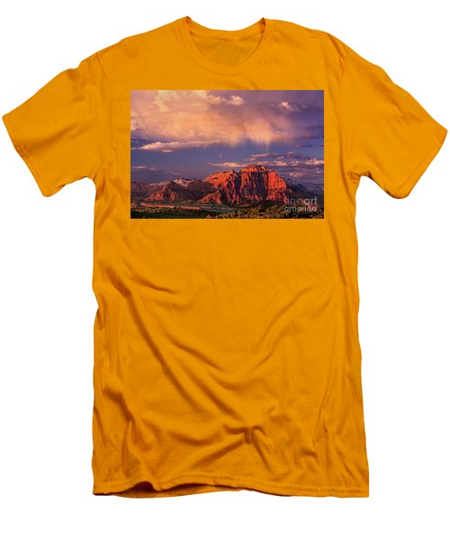 Sunset On West Temple Zion National Park Men's T-Shirt (Slim Fit) by Dave Welling