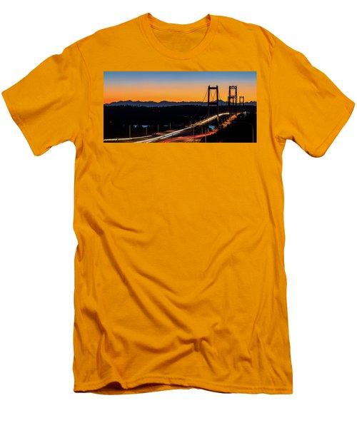 Sunset Over Narrrows Bridge Panorama Men's T-Shirt (Slim Fit) by Rob Green