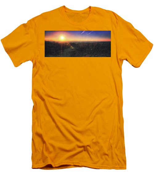 Sunset Over Wisconsin Treetops At Lapham Peak  Men's T-Shirt (Slim Fit) by Jennifer Rondinelli Reilly - Fine Art Photography