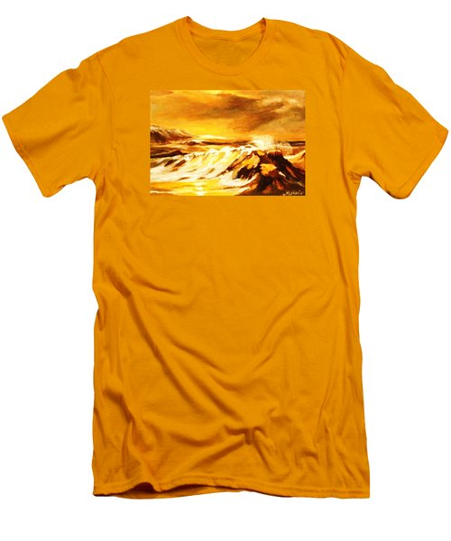 Men's T-Shirt (Slim Fit) featuring the painting Sunset Surf by Al Brown