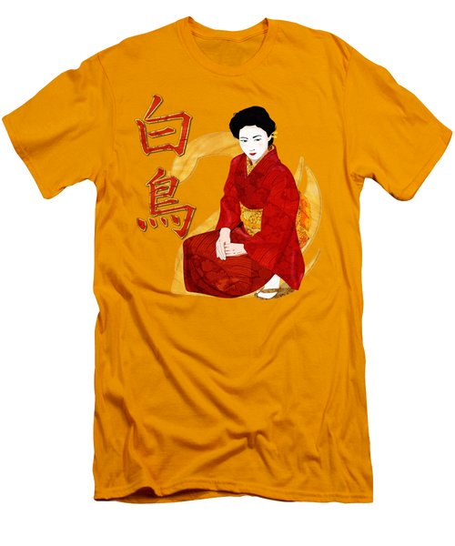 Swan Japanese Geisha Men's T-Shirt (Slim Fit) by Sharon and Renee Lozen