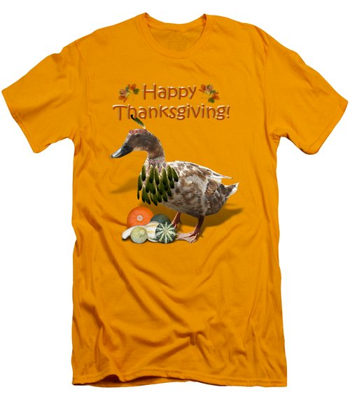 Thanksgiving Indian Duck Men's T-Shirt (Athletic Fit)