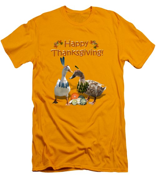 Thanksgiving Indian Ducks Men's T-Shirt (Slim Fit) by Gravityx9  Designs