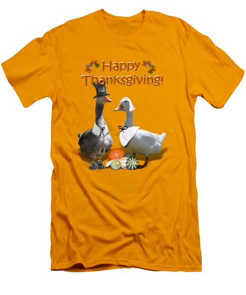 Thanksgiving Pilgrim Ducks Men's T-Shirt (Slim Fit) by Gravityx9 Designs