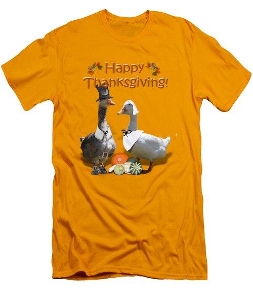 Thanksgiving Pilgrim Ducks Men's T-Shirt (Slim Fit)