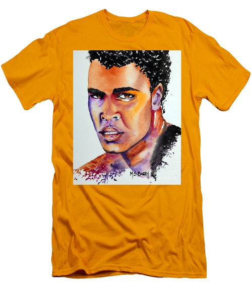 Men's T-Shirt (Slim Fit) featuring the painting The Great Ali by Maria Barry