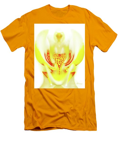 Men's T-Shirt (Slim Fit) featuring the photograph The Heart Of An Alien-orchid by Jennie Breeze