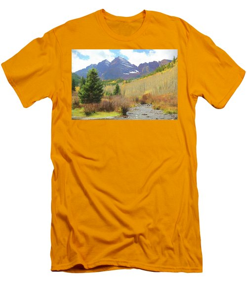 Men's T-Shirt (Slim Fit) featuring the photograph The Maroon Bells Reimagined 3 by Eric Glaser