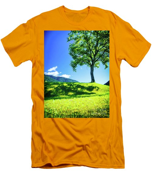 Men's T-Shirt (Athletic Fit) featuring the photograph The Tree On The Hill by Silvia Ganora