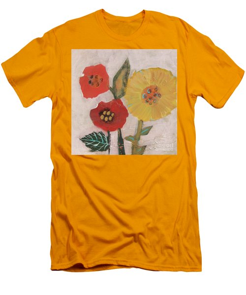 Men's T-Shirt (Athletic Fit) featuring the painting Three Awkward Flower Blossoms by Robin Maria Pedrero