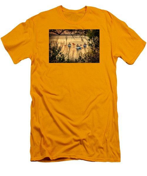 Three Kayaks Coming Home Men's T-Shirt (Slim Fit) by Phil Mancuso