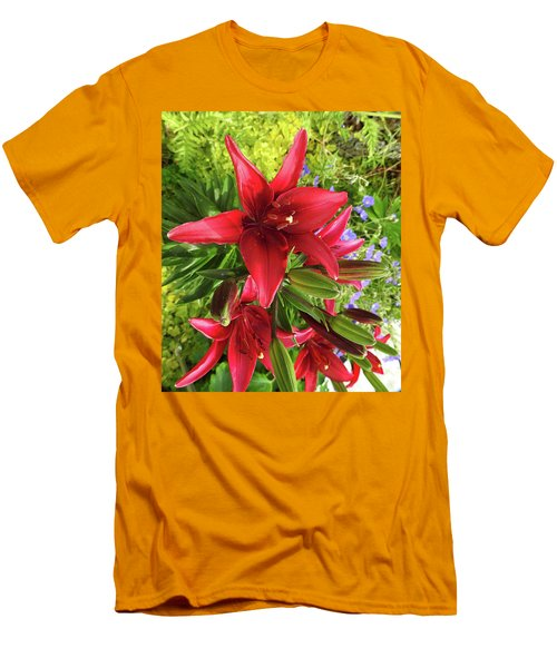 Tiny Ghost Asiatic Lilly Men's T-Shirt (Athletic Fit)