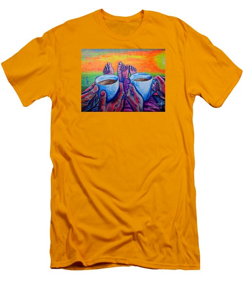 Men's T-Shirt (Slim Fit) featuring the painting Together by Viktor Lazarev