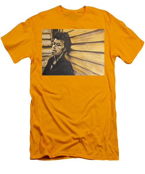 Men's T-Shirt (Slim Fit) featuring the painting Tom Waits by Eric Dee