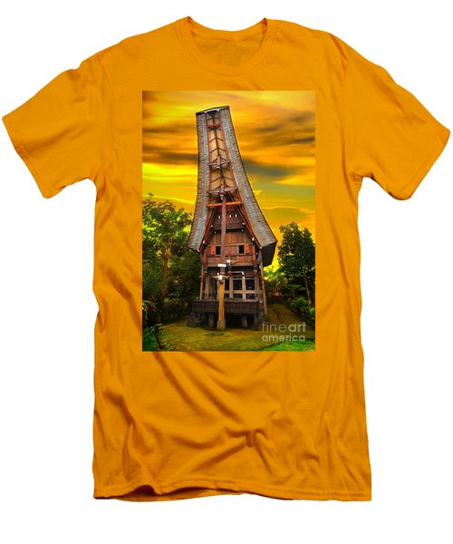 Men's T-Shirt (Slim Fit) featuring the photograph Toraja Architecture by Charuhas Images