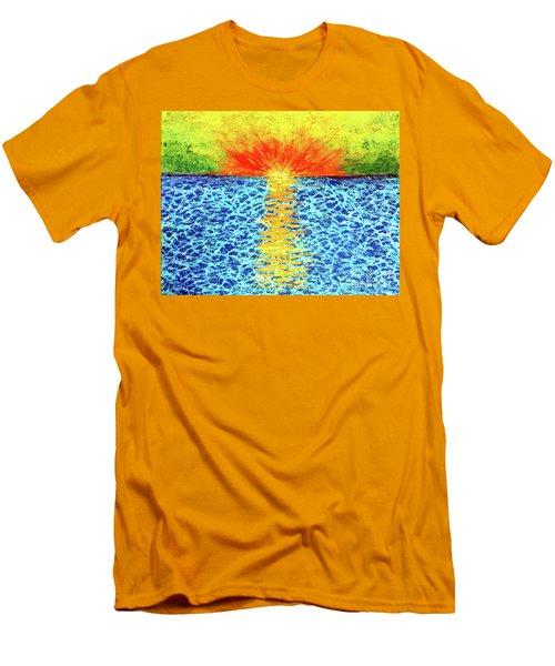 Tropical Sunrise Men's T-Shirt (Slim Fit) by Pattie Calfy