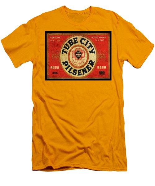 Men's T-Shirt (Slim Fit) featuring the digital art Tube City Pilsner by Greg Sharpe
