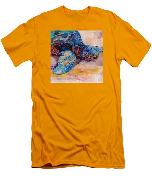 Men's T-Shirt (Slim Fit) featuring the painting Turtle At Poipu Beach 6 by Marionette Taboniar