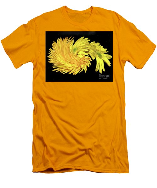 Men's T-Shirt (Athletic Fit) featuring the digital art Twisted Yellow Daisies by Merton Allen