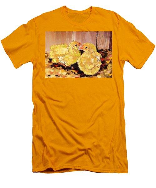 Two Baby Cornish Chicks Men's T-Shirt (Slim Fit) by Debra Baldwin