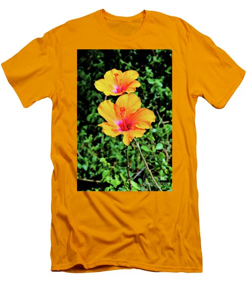 Two Long Stemmed Hibiscus Men's T-Shirt (Athletic Fit)