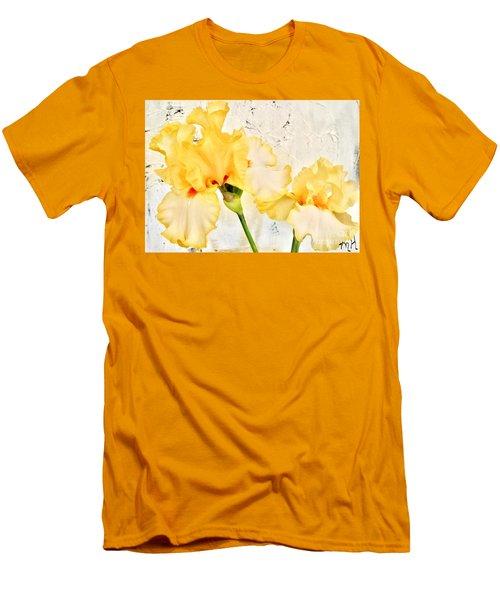 Two Yellow Irises Men's T-Shirt (Slim Fit) by Marsha Heiken