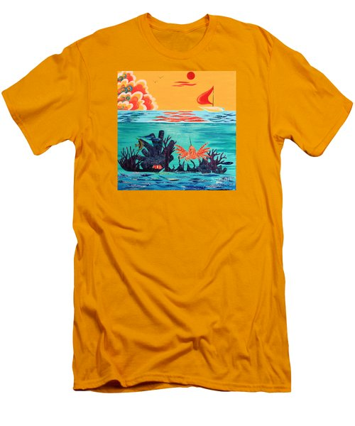 Bright Coral Reef Men's T-Shirt (Athletic Fit)