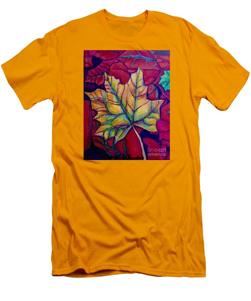 Men's T-Shirt (Slim Fit) featuring the painting Understudy Of A Turning Maple Leaf In The Fall by Kimberlee Baxter