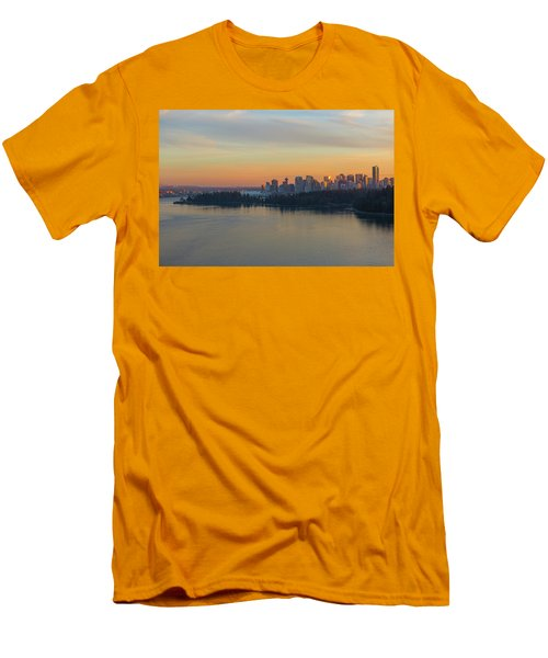 Vancouver Bc Skyline And Stanley Park At Sunset Men's T-Shirt (Athletic Fit)