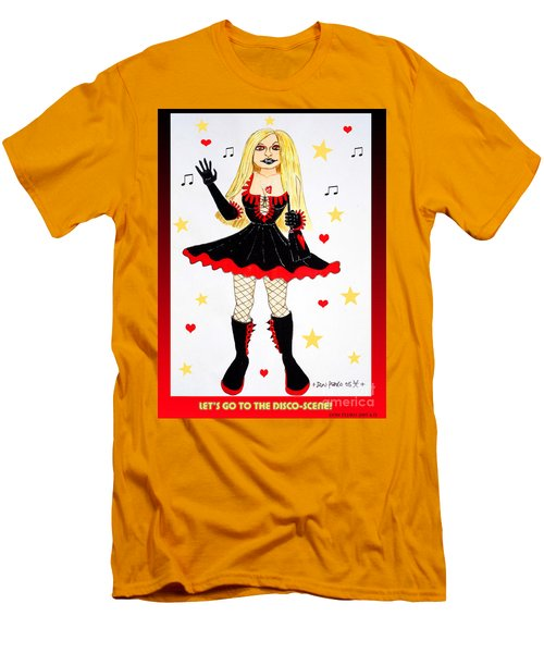 Men's T-Shirt (Slim Fit) featuring the painting Vannieh-the Disco-queen Of The Nineties by Don Pedro De Gracia