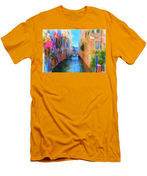 Venice Canal Painting Men's T-Shirt (Slim Fit) by Michael Cleere