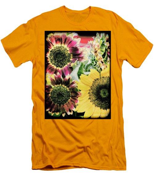 Vintage Sunflowers Men's T-Shirt (Slim Fit) by Karen Lewis
