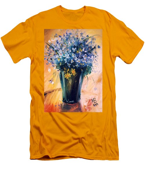 Men's T-Shirt (Slim Fit) featuring the painting Violets by Mikhail Zarovny
