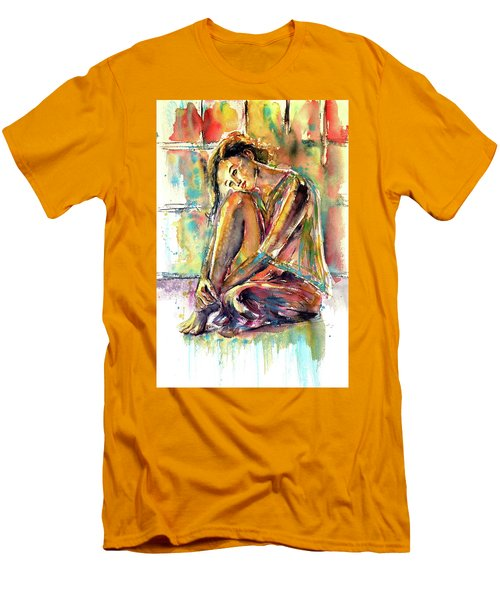 Men's T-Shirt (Slim Fit) featuring the painting Waiting For You by Kovacs Anna Brigitta