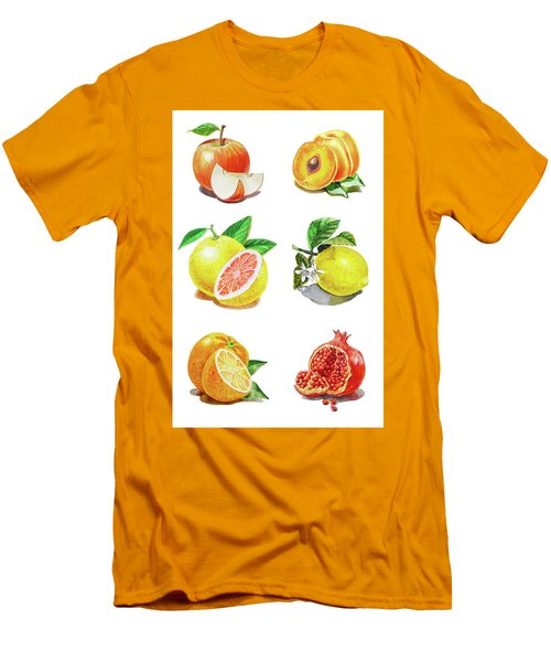 Watercolor Food Illustration Fruits Men's T-Shirt (Athletic Fit)