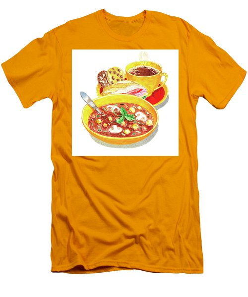 Men's T-Shirt (Athletic Fit) featuring the painting Watercolor Food Illustration Full Lunch by Irina Sztukowski