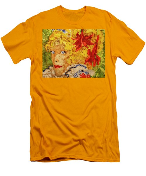 Men's T-Shirt (Slim Fit) featuring the painting Wax On Wax Off by Cynthia Powell