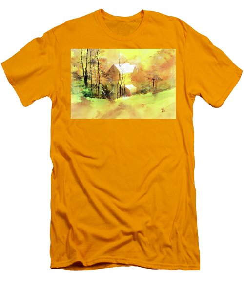 Men's T-Shirt (Slim Fit) featuring the painting Welcome Winter by Anil Nene