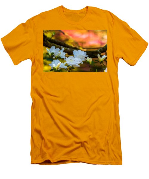 Men's T-Shirt (Slim Fit) featuring the photograph White Azaleas In The Garden by John Harding