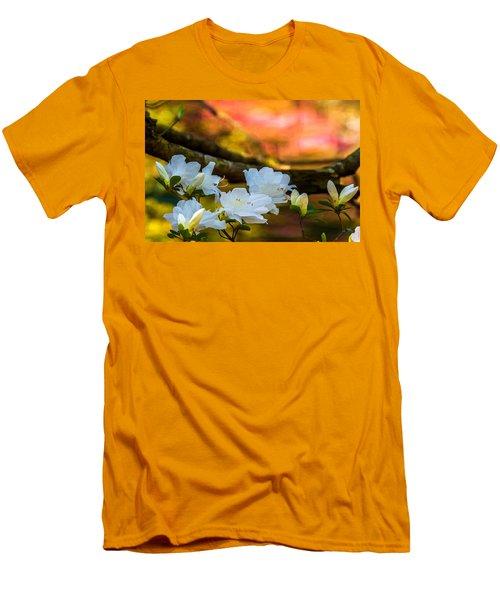 White Azaleas In The Garden Men's T-Shirt (Slim Fit) by John Harding