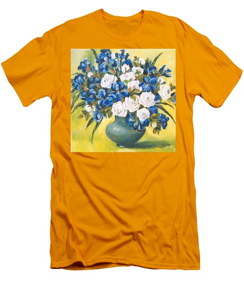 White Roses Men's T-Shirt (Slim Fit) by Alexandra Maria Ethlyn Cheshire