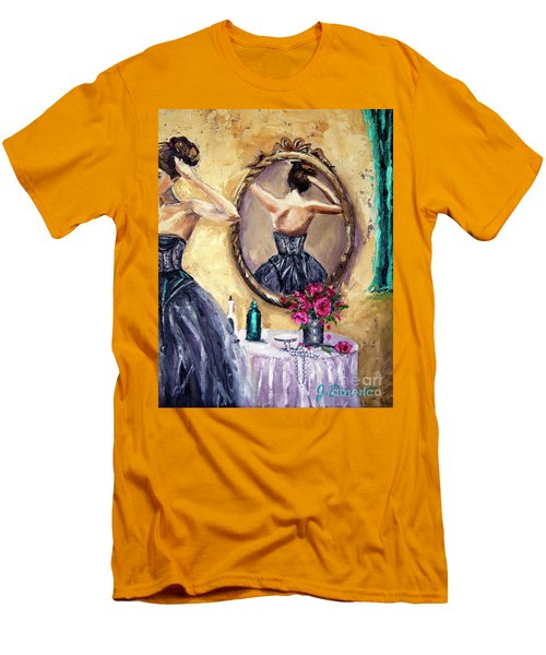 Woman In Mirror Men's T-Shirt (Slim Fit) by Jennifer Beaudet